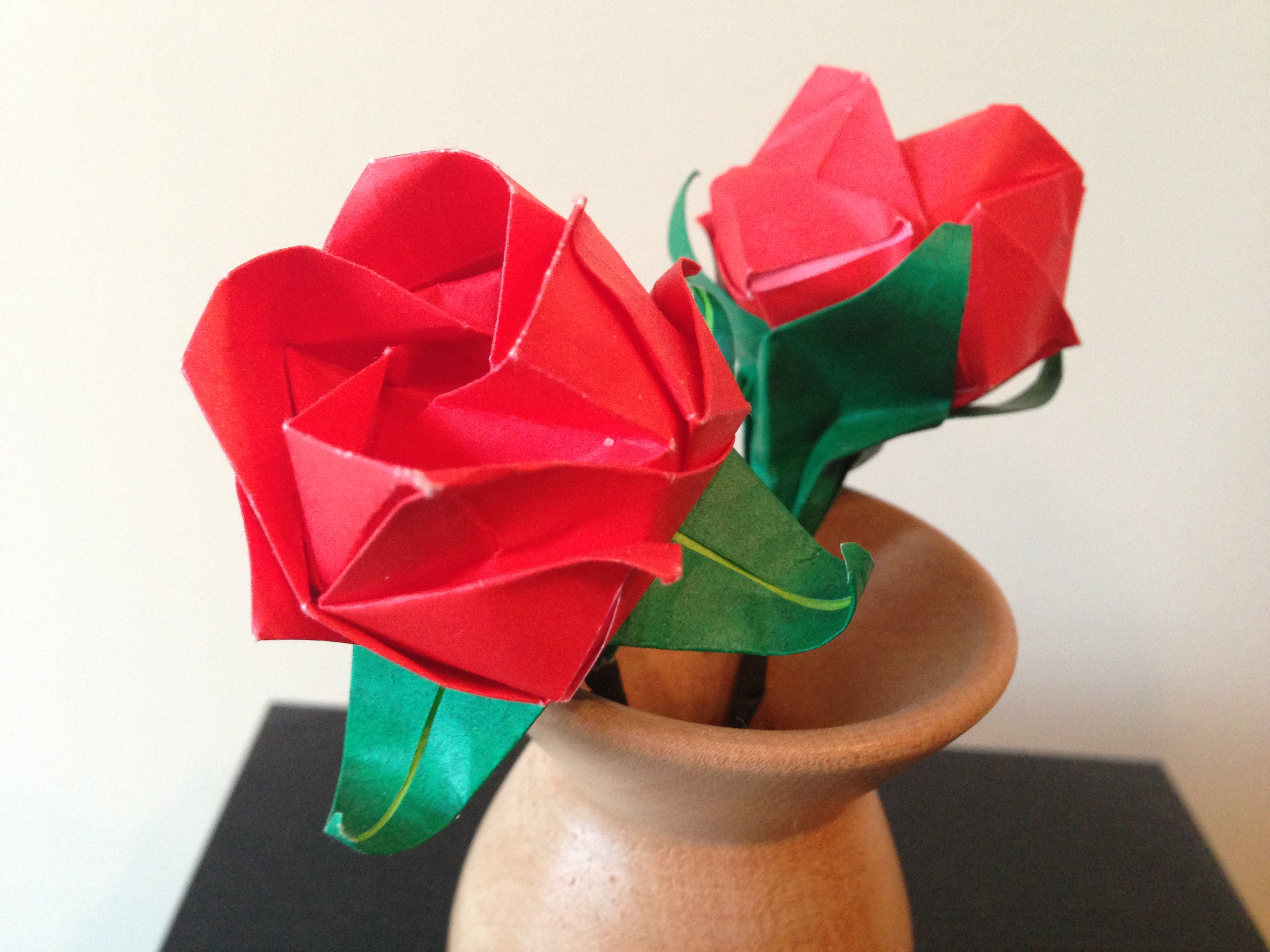 First Wedding Anniverary Origami Flowers In A Woodturned Vase